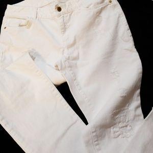 Michael Kors distressed white denim jeans